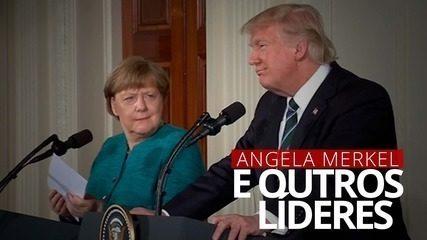 Angela Merkel e outros líderes mundiais