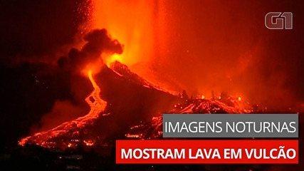 Imagens noturnas mostram lava saindo de vulcão na Espanha