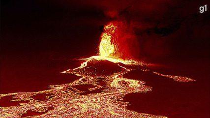 Imagens de drone mostram caminho da lava de vulcão em La Palma