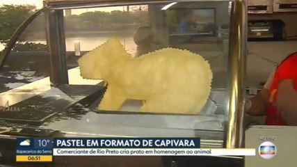 Comerciante vende pastel em formato de capivara