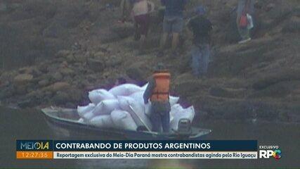 Reportagem exclusiva do Meio-Dia Paraná mostra contrabandistas agindo pelo Rio Iguaçu