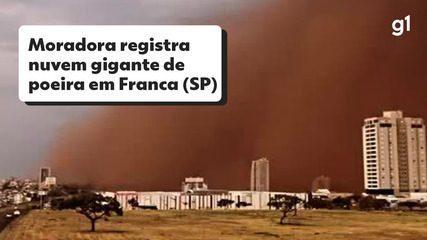 Moradora de Franca, SP, registra nuvem gigante de poeira ao lado do apartamento
