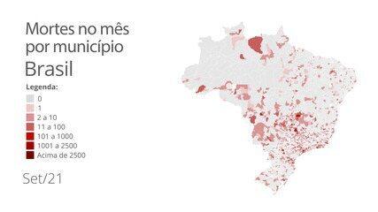 Mais da metade dos municípios brasileiros não registra mortes por Covid-19 em setembro