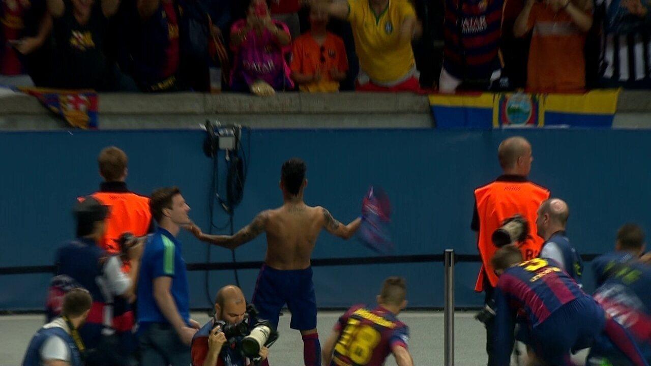 Gol do Barcelona! Neymar recebe na área e fecha o placar na final da Champions