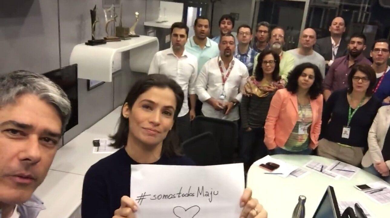 Equipe do Jornal Nacional grava mensagem de apoio a Maju