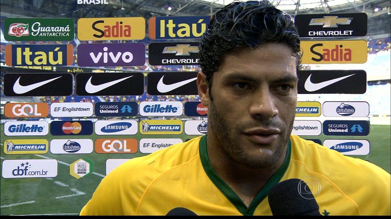 Hulk marca o único gol do Brasil no amistoso contra a Costa Rica