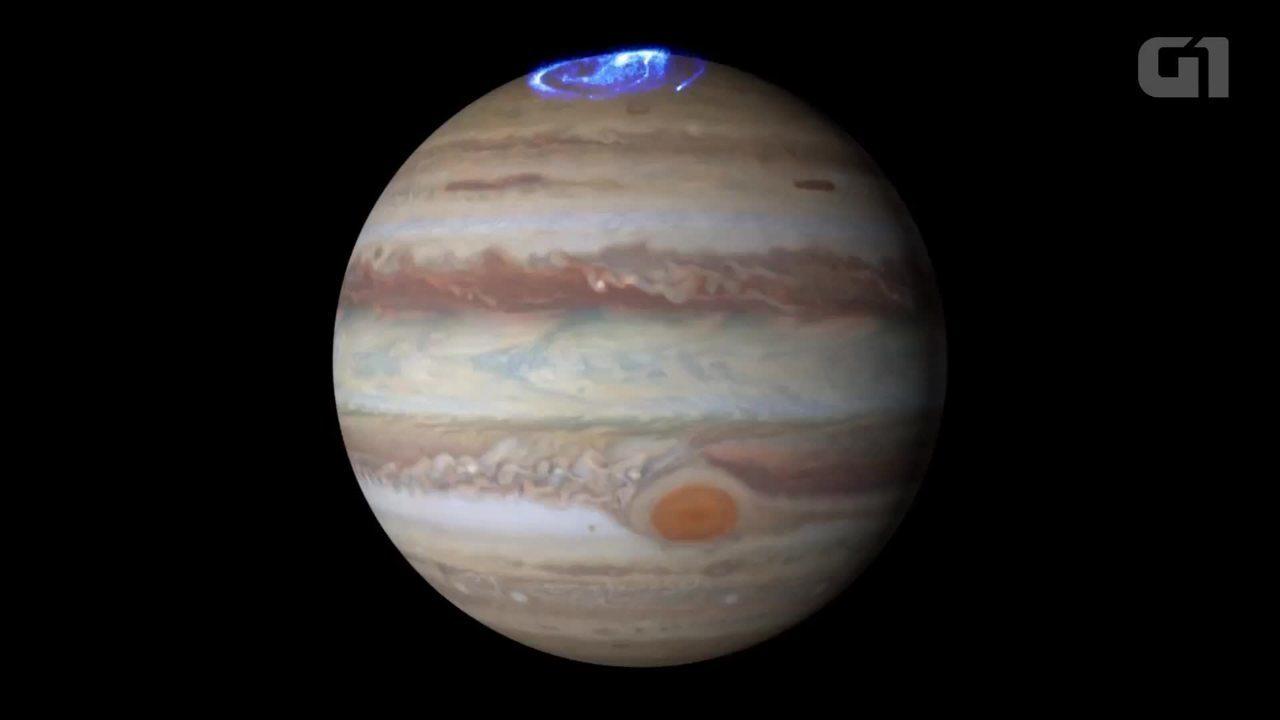Telescópio Hubble captura imagens da aurora boreal de Júpiter