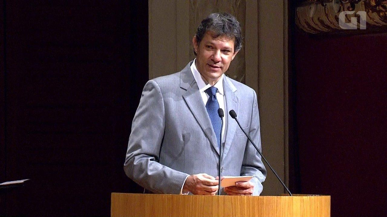 Discurso do ex-prefeito Fernando Haddad durante a cerimônia de passagem de posse