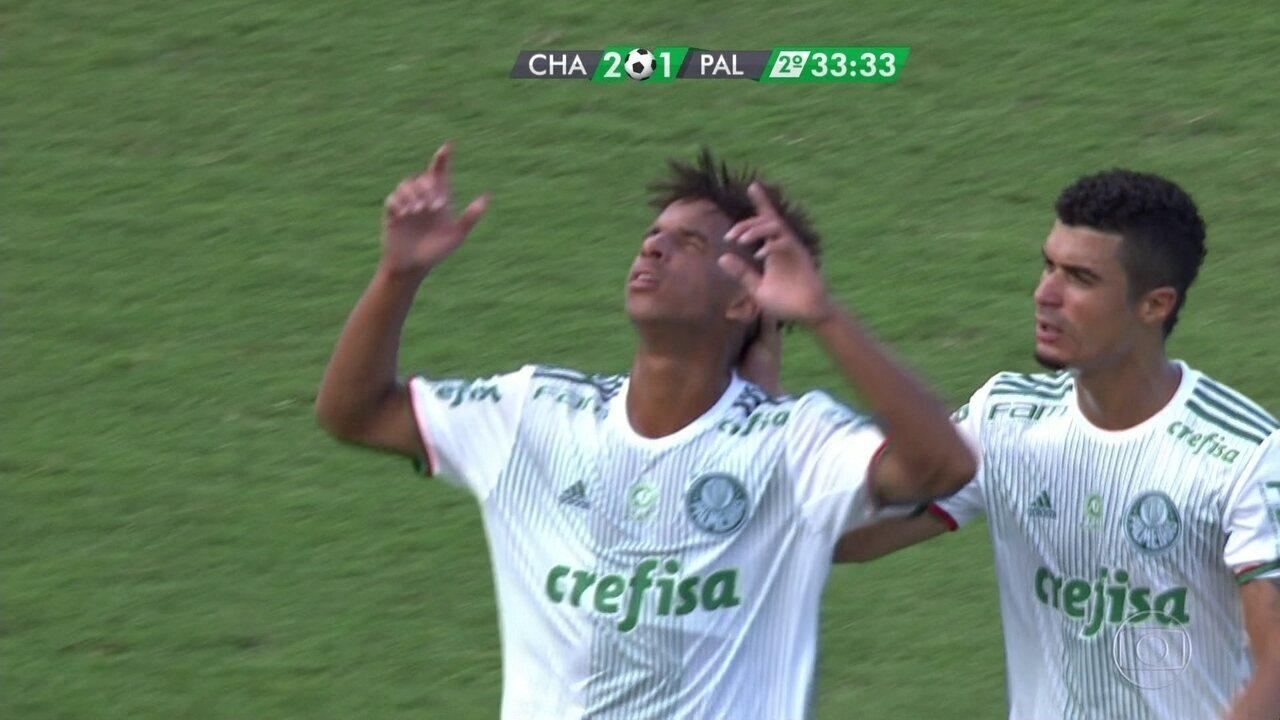 Veja gol de Vitinho pelo Palmeiras contra a Chapecoense