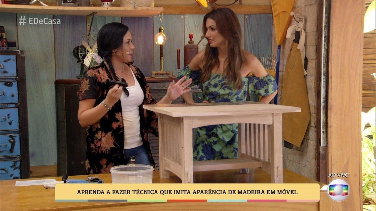 Tatiana Ribeiro restaura móvel e o faz parecer madeira de verdade