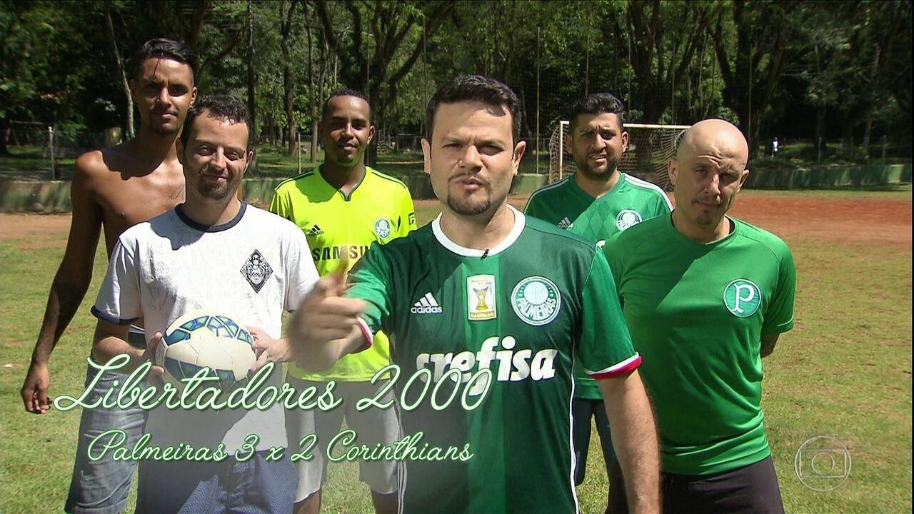 Torcedores do Palmeiras recriam gol de Galenao, contra o Corinthians, em 2000