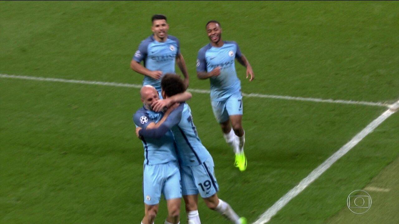 Os gols de Manchester City 5 x 3 Monaco, pelas oitavas da Liga dos Campeões