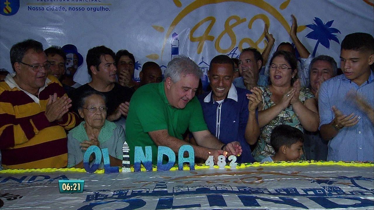 Aniversário de Olinda é celebrado com mistura de ritmos e bolo de 482 kg na Cidade Alta