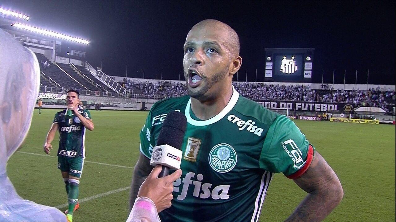 """Felipe Melo alfineta torcida do Santos após vitória: """"Nunca vi caldeirão com 5 mil, 8 mil"""""""