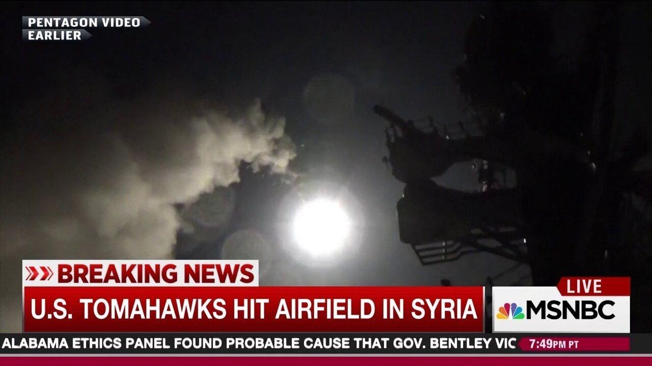 Pentágono divulga imagens do lançamento de mísseis contra a Síria