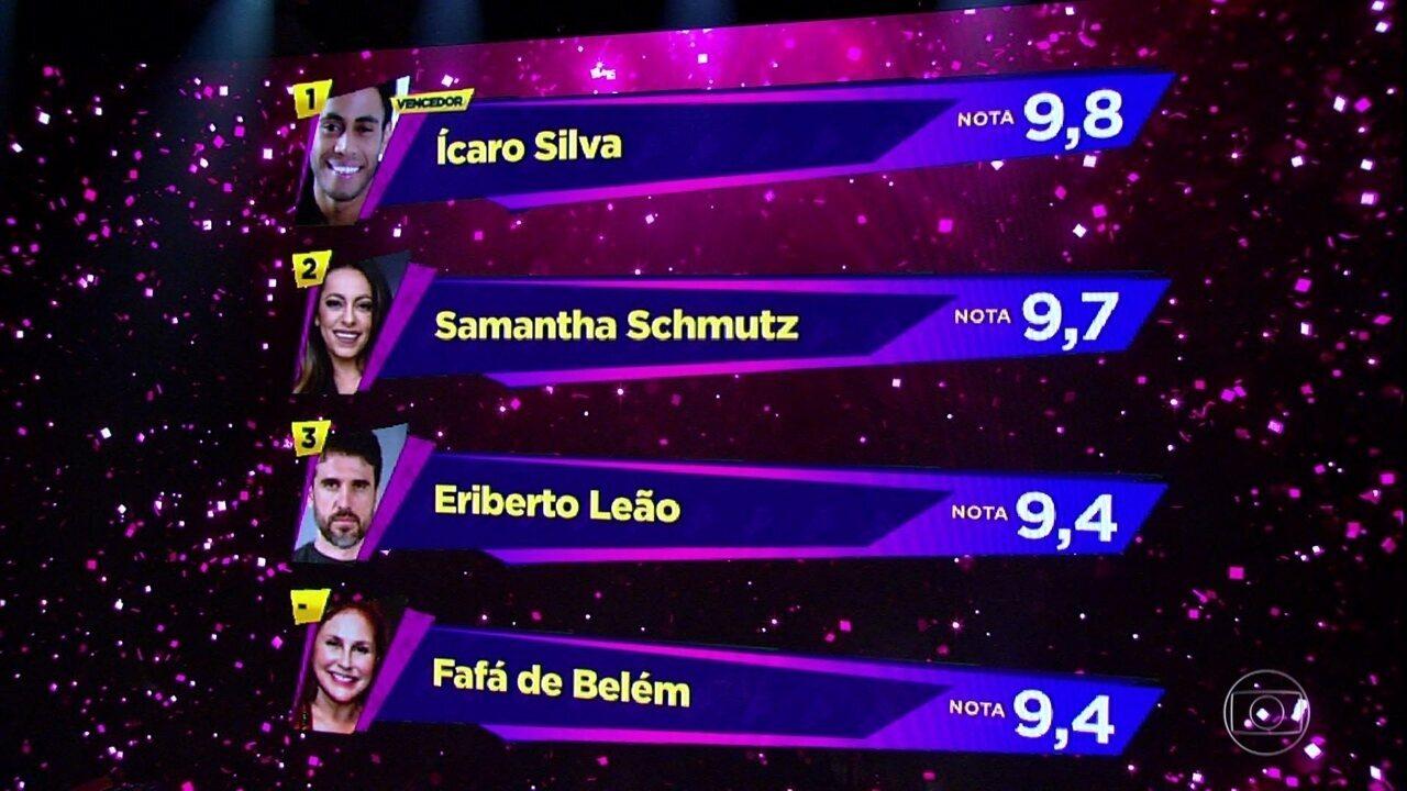 Ícaro Silva fica com a melhor média nas notas do 'Show dos Famosos'