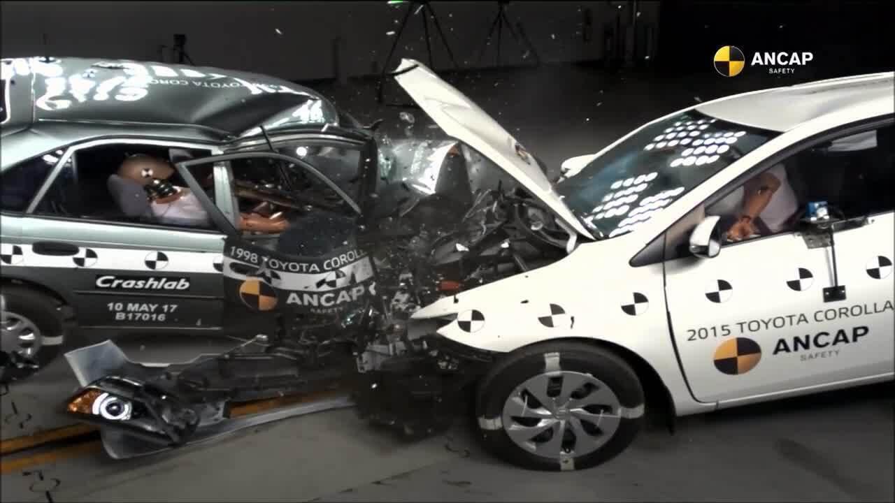 Crash-test entre Corolla de 1998 e 2015