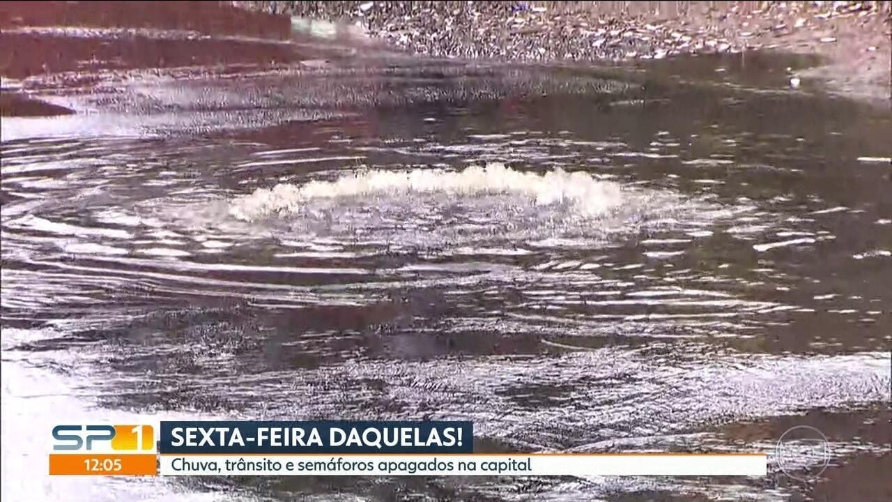 Chuva intensa provoca ameaça de alagamento na capital