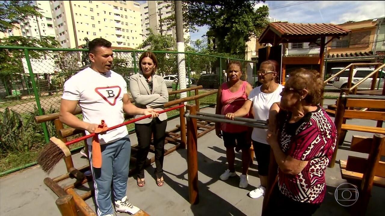 Santos tem praça que proporciona atividades físicas gratuitas a idosos