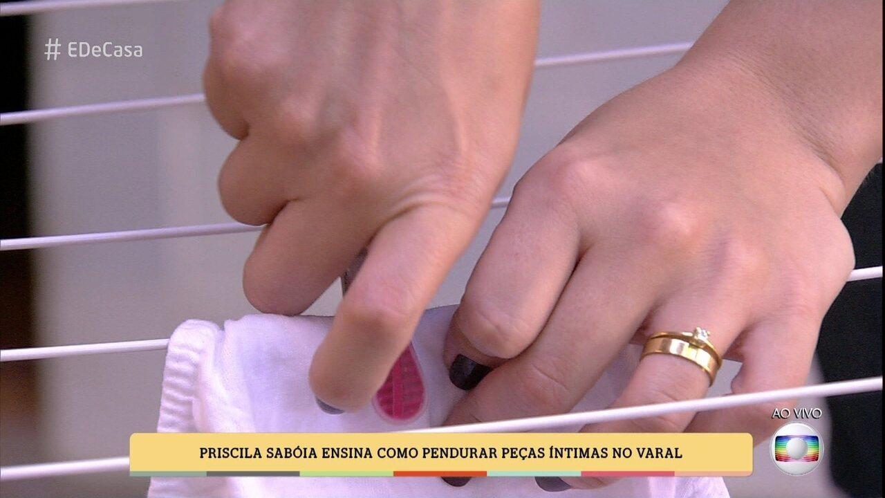 bc6ae0c4b Priscila Sabóia ensina como pendurar peças íntimas no varal (03 06 2017)