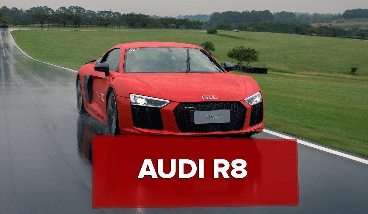 Audi R8 dá show mesmo em pista molhada