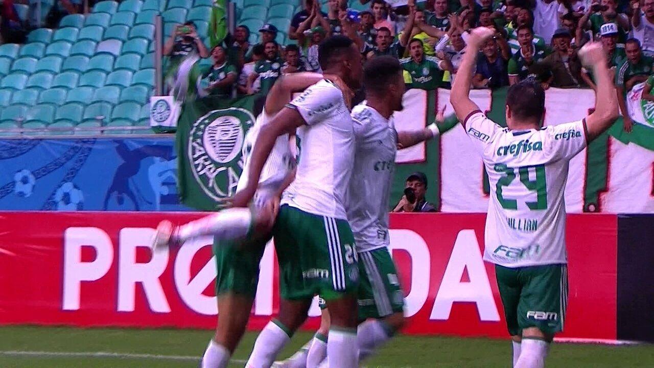 Gol de Mina na vitória do Palmeiras sobre o Bahia