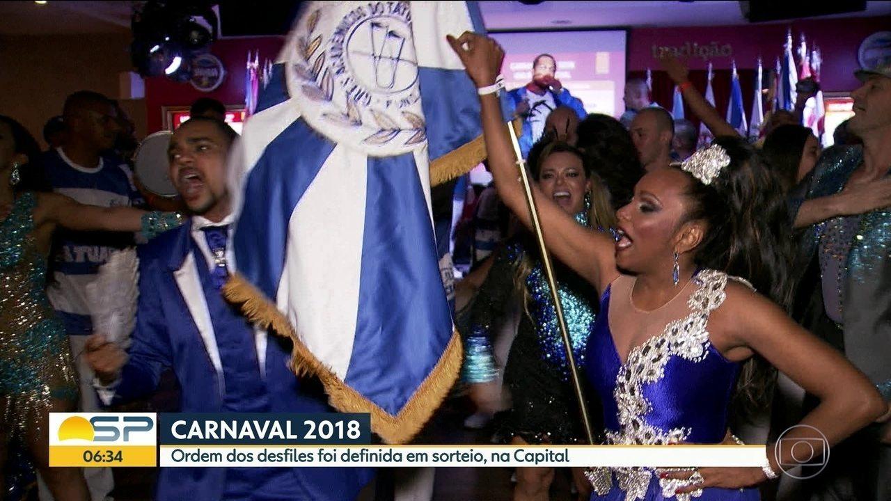 Sorteio define ordem dos desfiles do carnaval 2018 no Anhembi