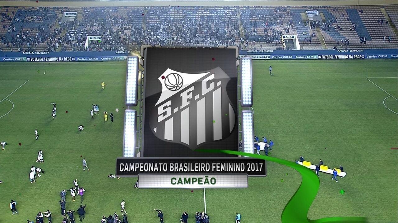 Santos comemora título brasileiro de futebol feminino