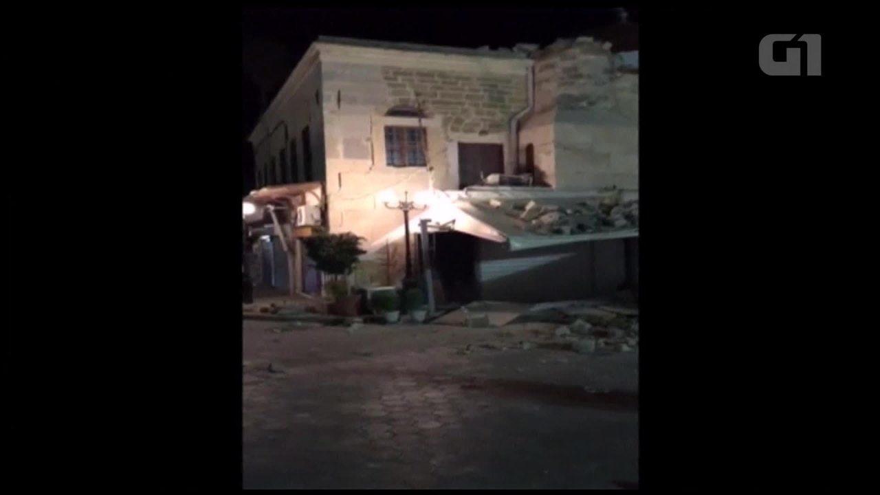 Vídeo mostra inundação e prédios destruídos em Kos, na Grécia, após terremoto