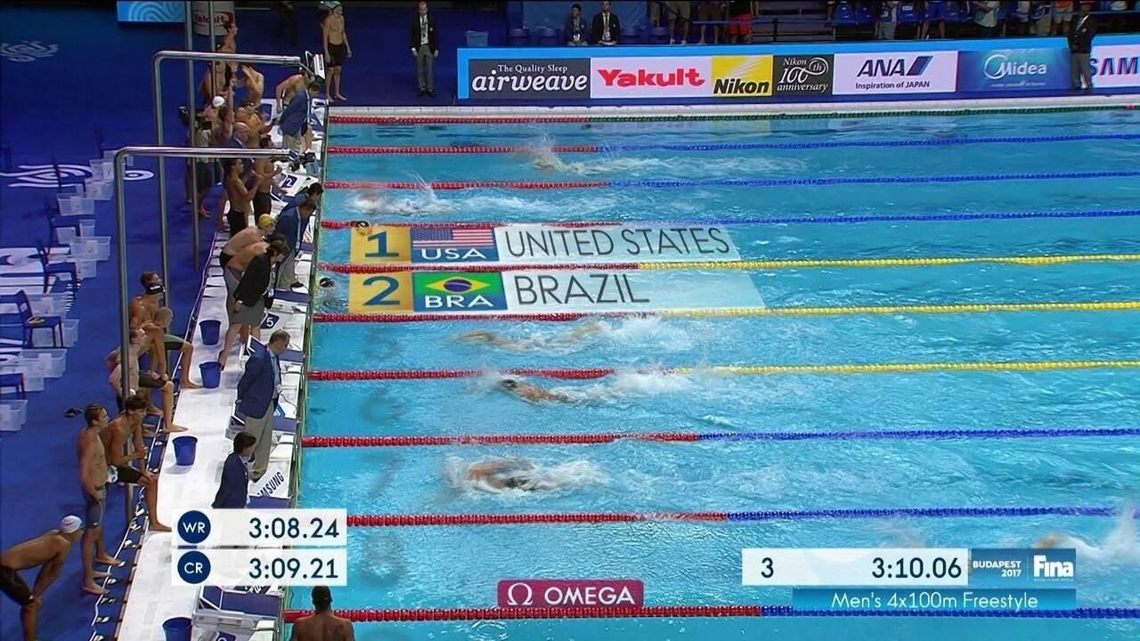É PRATA! Brasil faz prova espetacular e fica em 2º no revezamento 4x100m em Budapeste