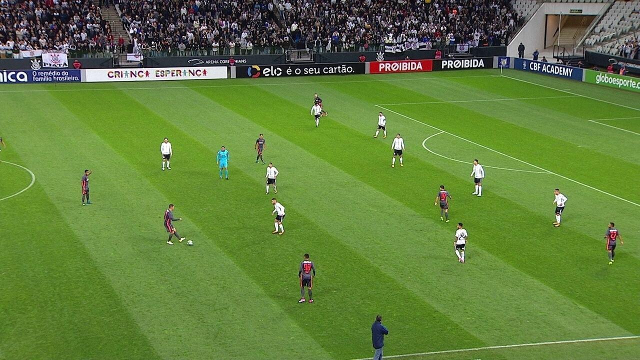Linha defensiva do Corinthians com atacantes atuando como laterais