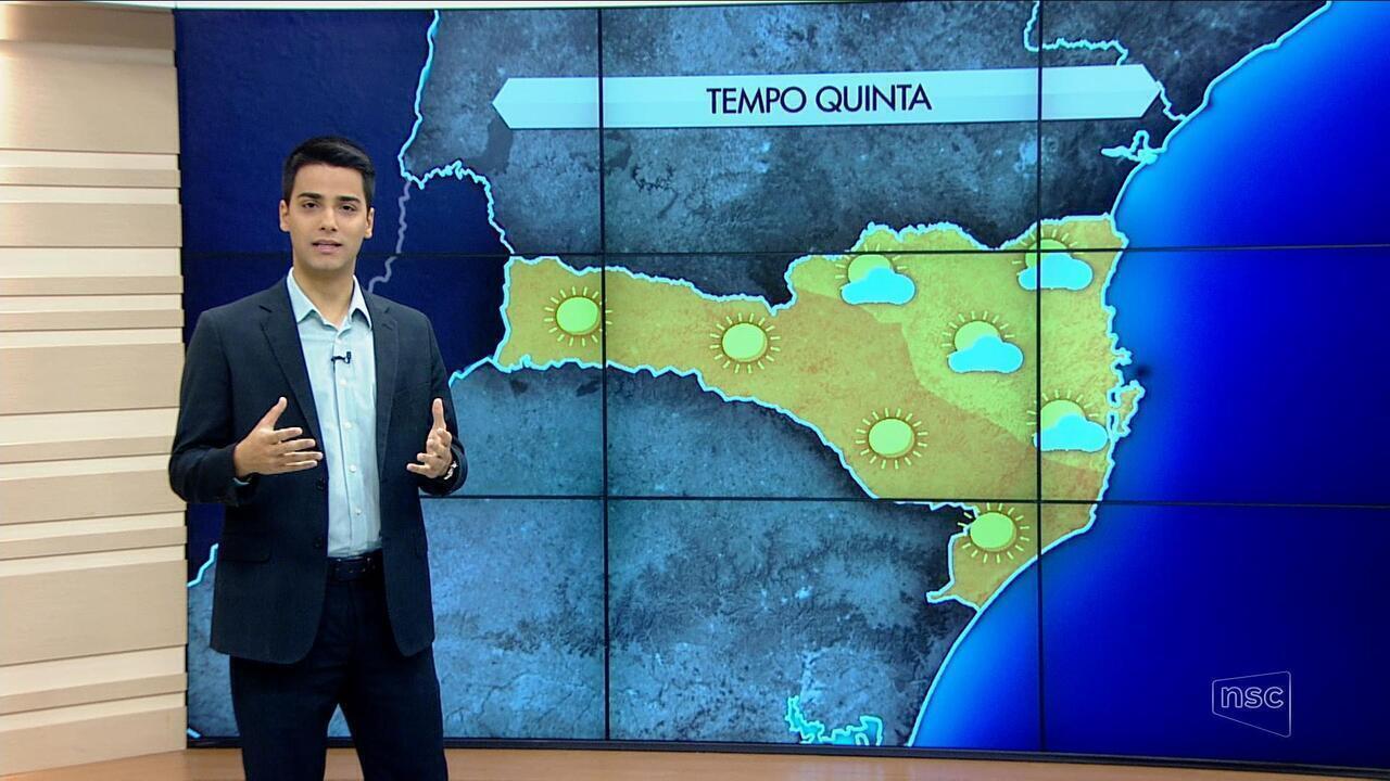 Sexta-feira será de céu nublado em boa parte de Santa Catarina