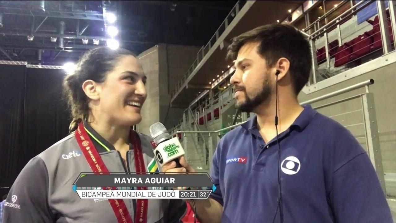 Gabriel Fricke entrevista Mayra Aguiar, e judoca fala sobre bicampeonato mundial