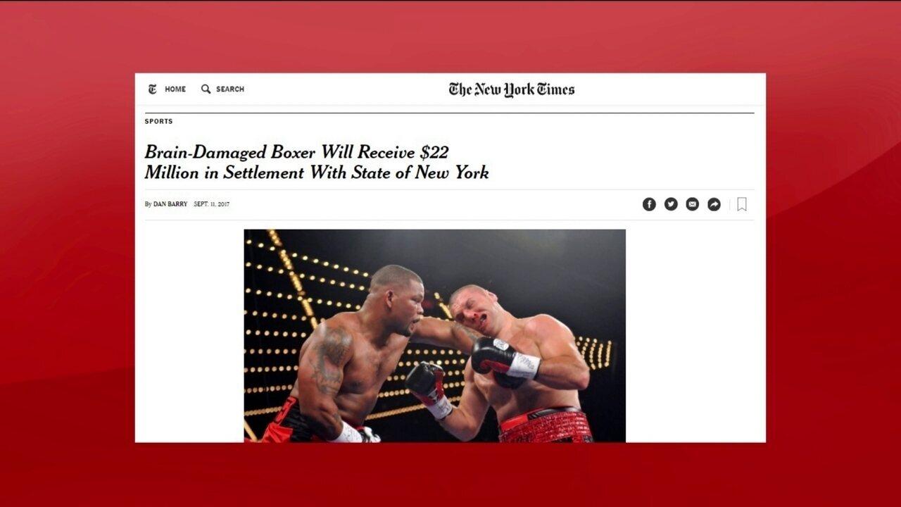 Boxeador que sofreu danos cerebrais receberá US$ 22 milhões do estado de Nova York