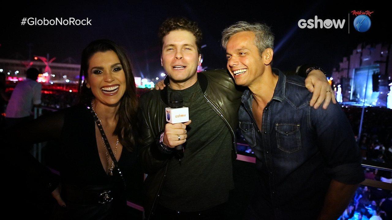 Thiago Fragoso entrevista Otaviano Costa e Flávia Alessandra direto do Rock in Rio