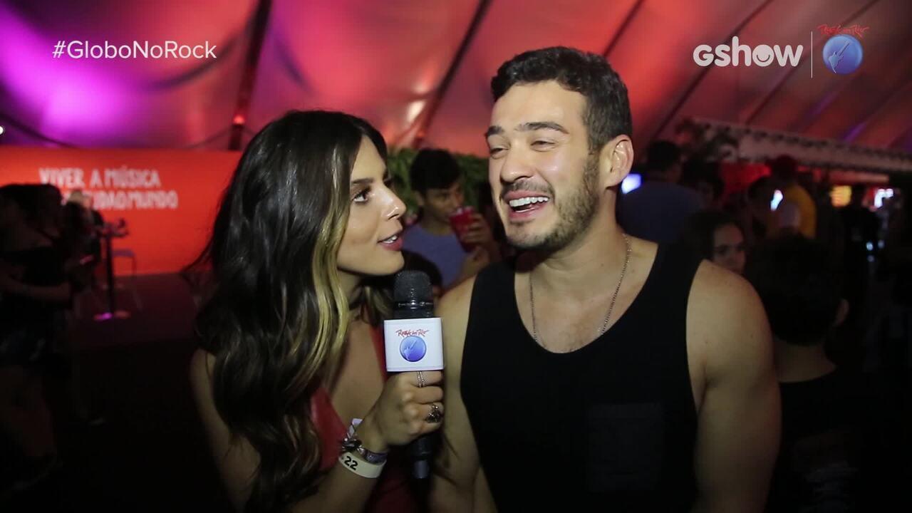 Giovanna Lancellotti entrevista Marcos Veras na área VIP do Rock in Rio
