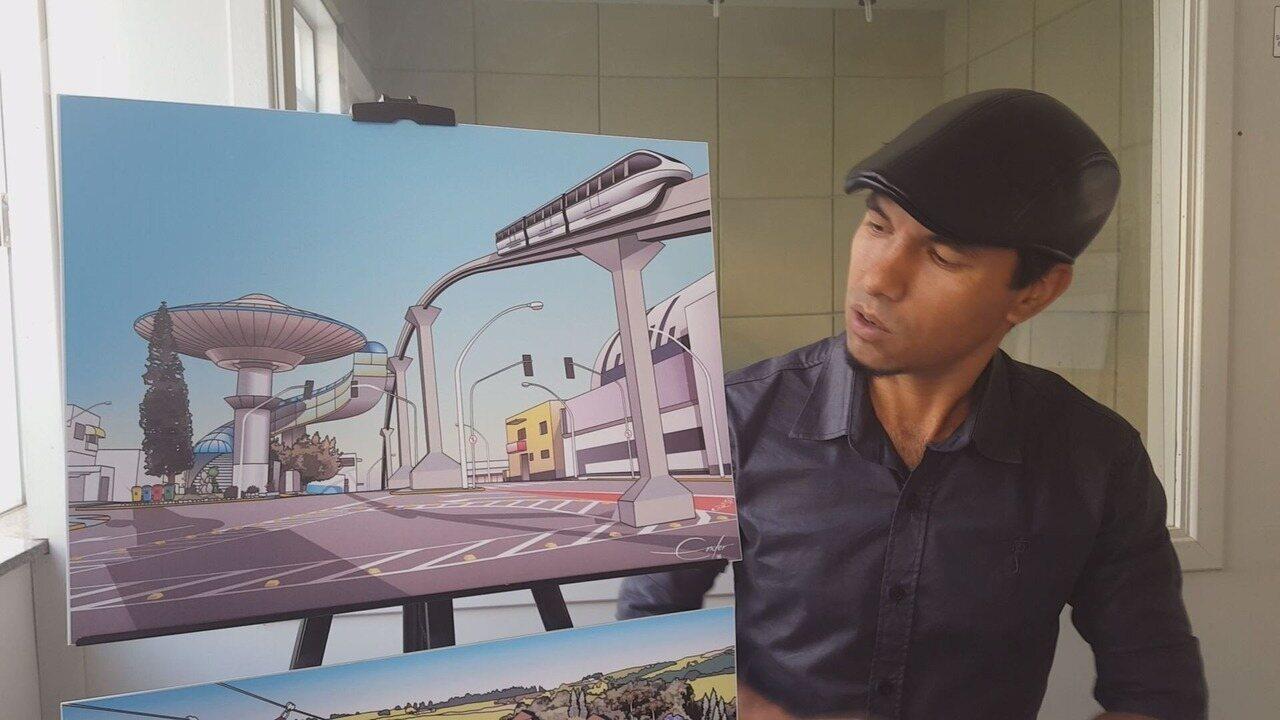 Desenhista mostra projeto para a nave do ET, em Varginha (MG)