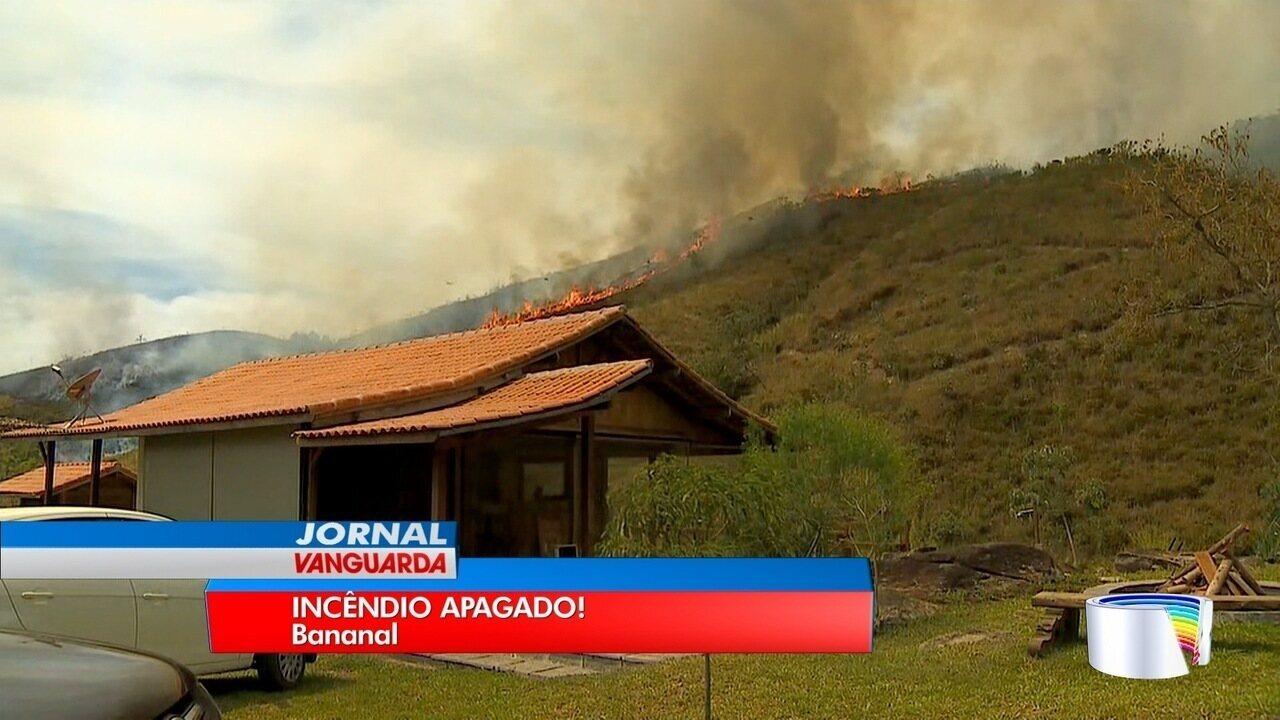 Bombeiros controlam incêndio na Serra da Bocaina