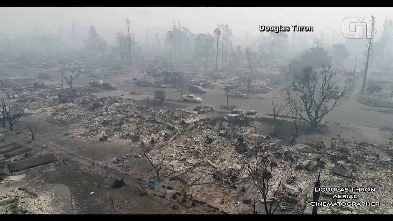 Imagens mostram destruição causada por incêndio na Califórnia, EUA