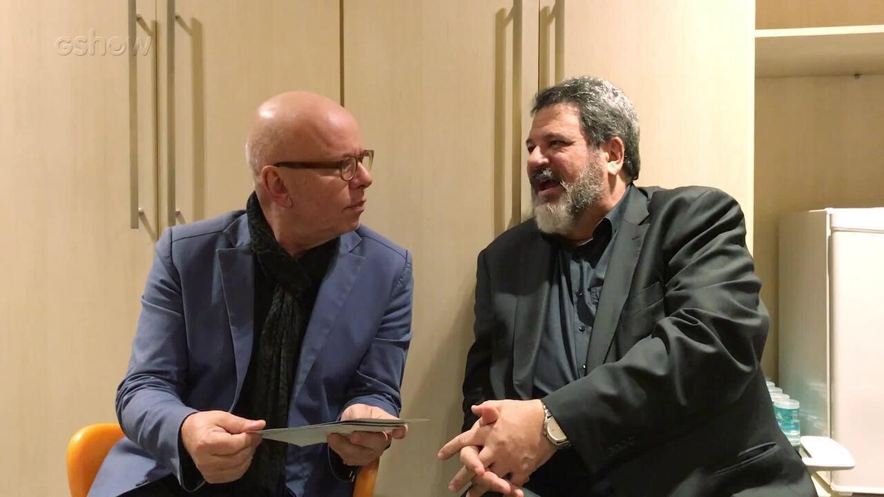 Marcelo Tas e Mario Sergio Cortella respondem perguntas nos bastidores