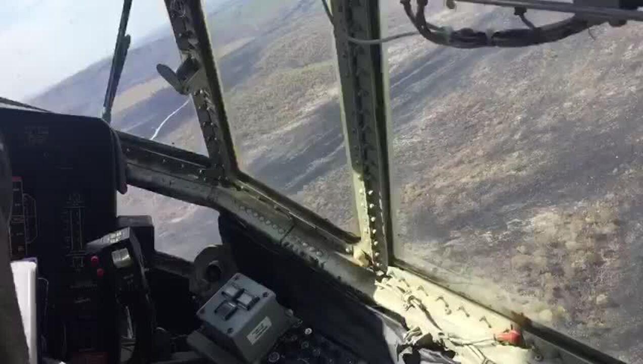 Avião Hércules, da Força Aérea Brasileira, mostra impacto do fogo na Chapada dos Veadeiros