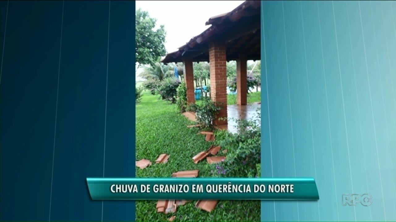 Chuva de granizo e vandaval causam prejuízo em pelo menos 25 casas em Querência do Norte