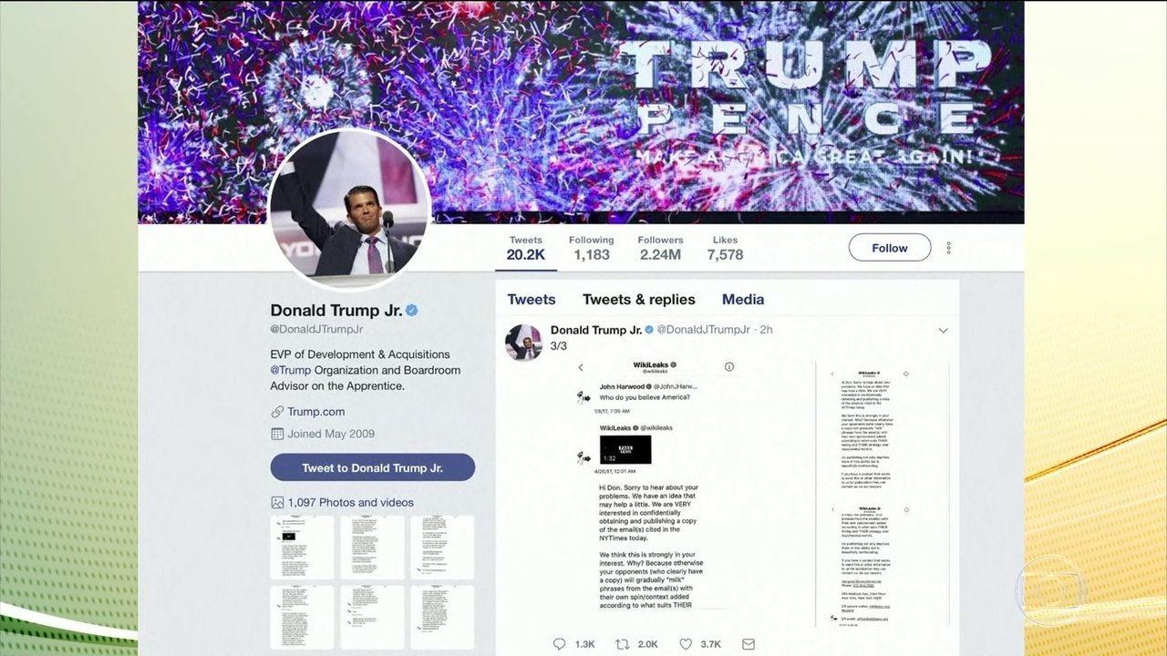 Donald Trump Jr trocou mensagens com Wikileaks durante campanha presidencial de 2016
