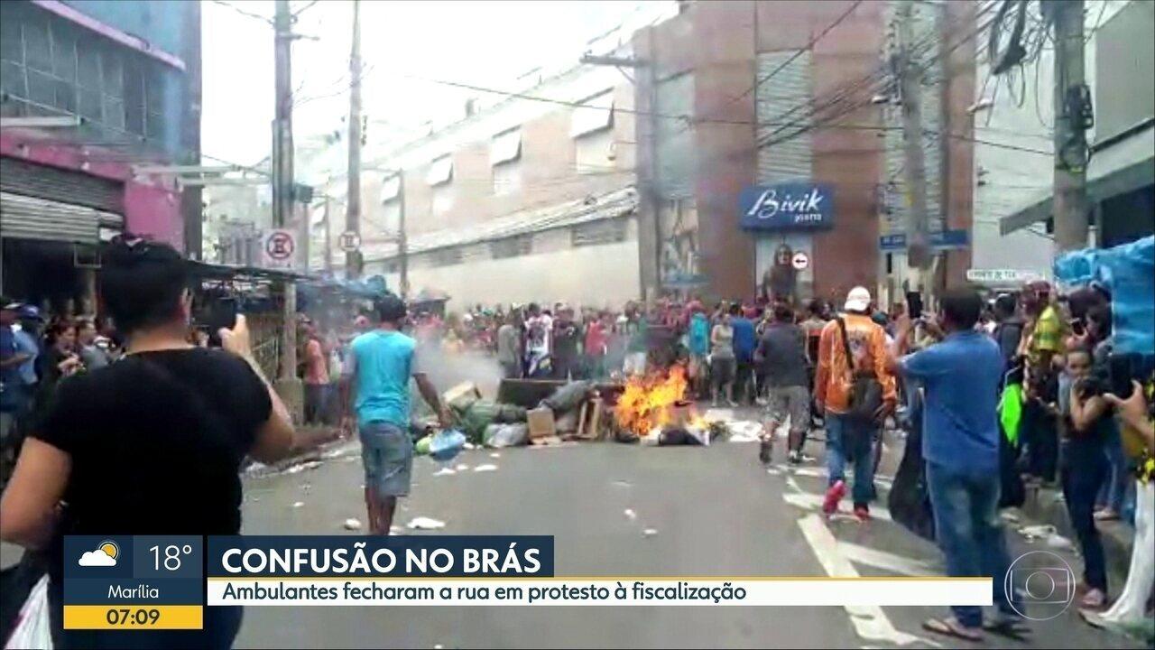 Ambulantes fizeram manifestação no Brás, no Centro de SP