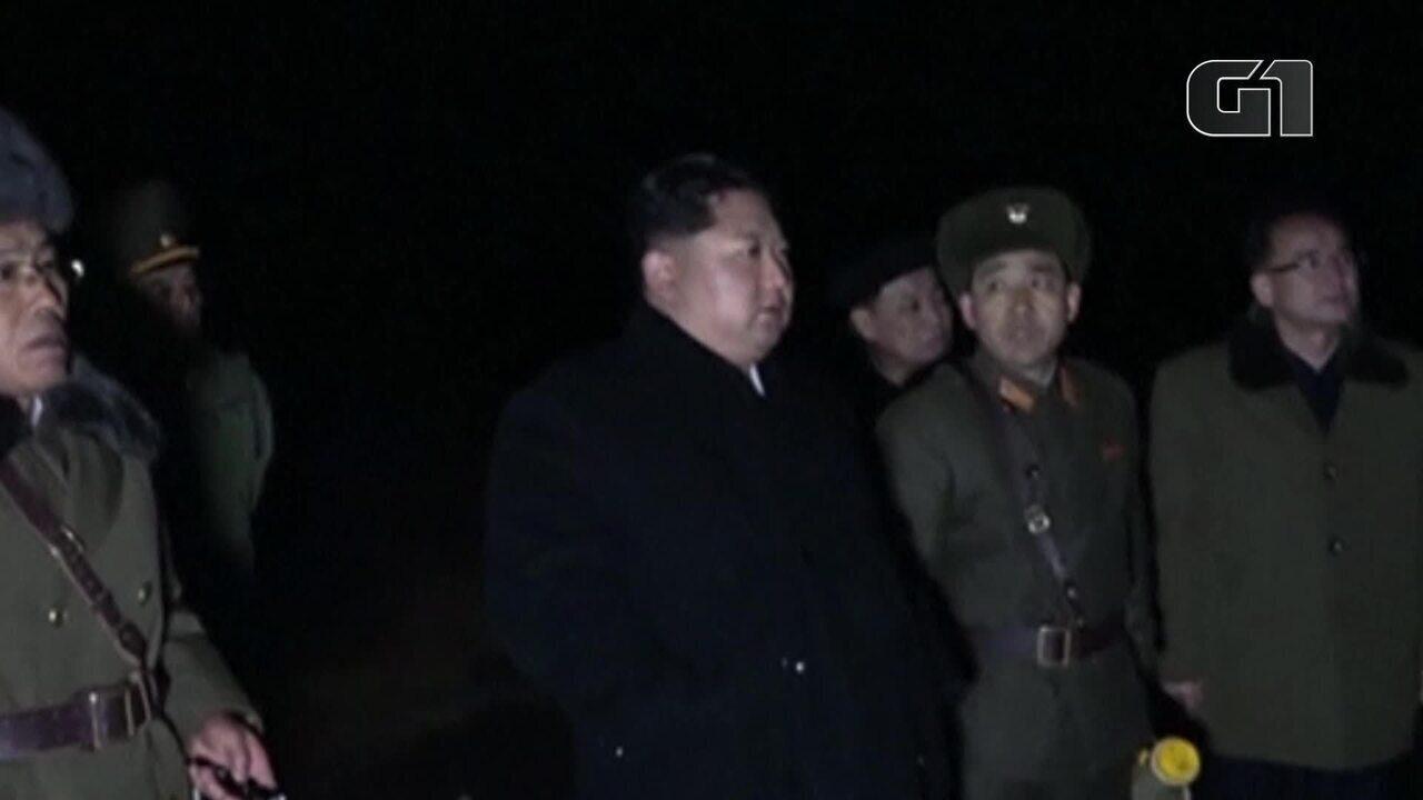 Kim Jong-Un inspeciona lançamento de míssil na Coreia do Norte