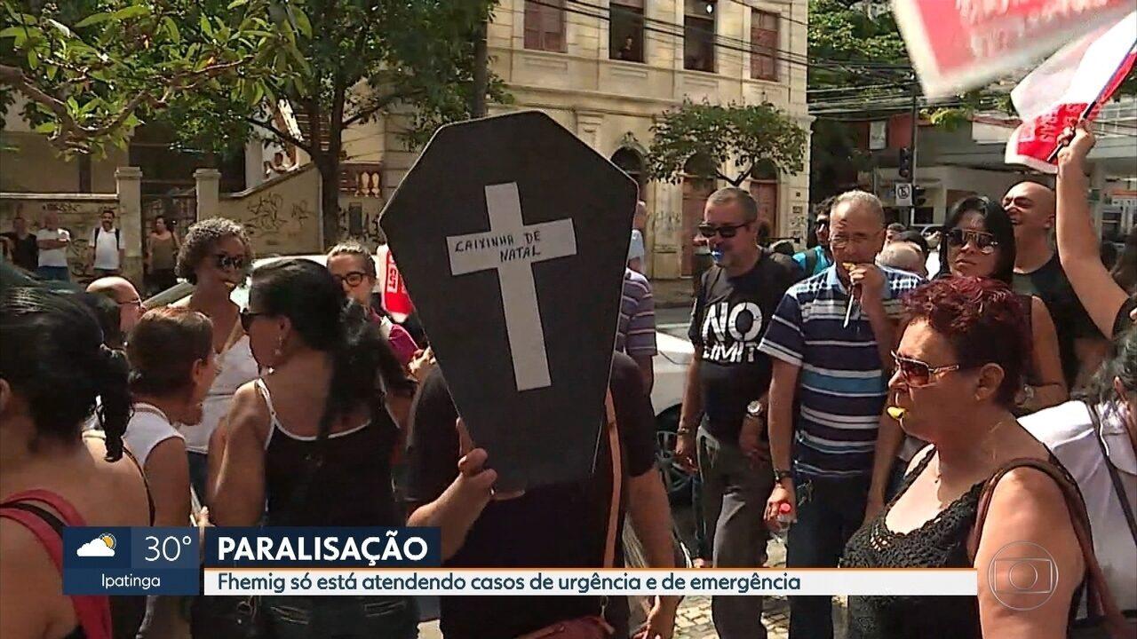 Servidores estaduais protestam em vias do centro de Belo Horizonte