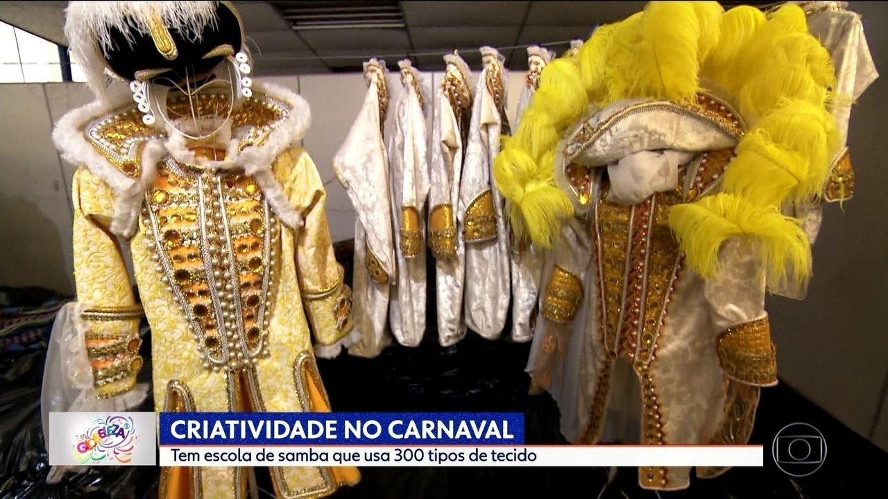 Tem escola de samba que usa até 300 tipos de tecido no Carnaval