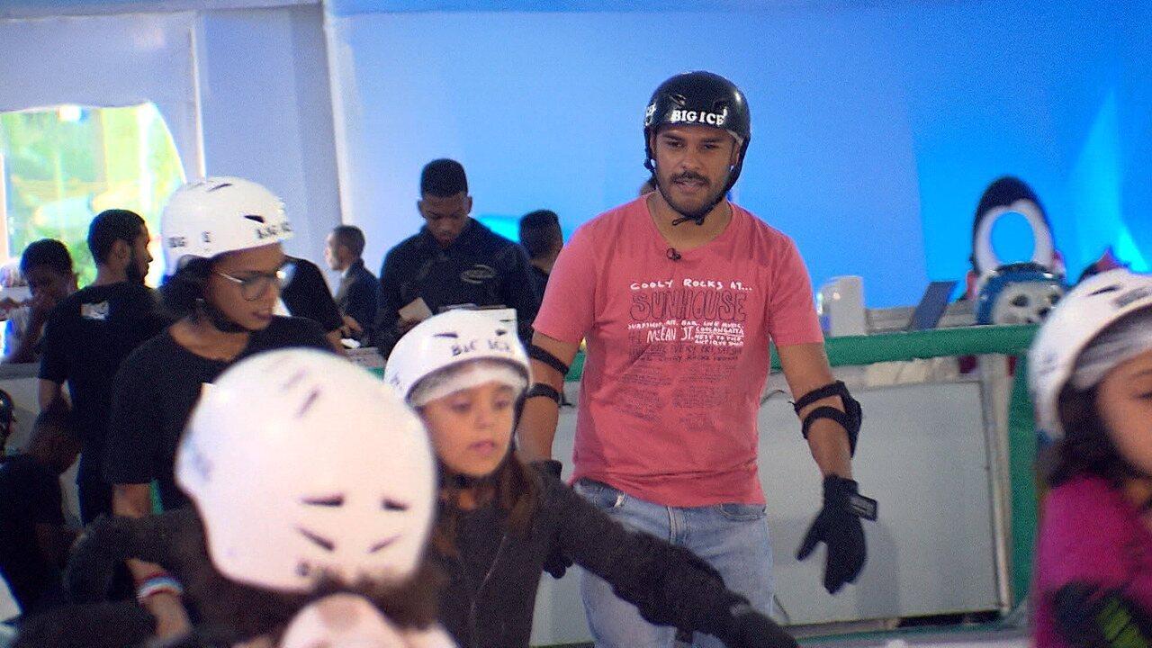 Pablo Vasconcelos encara uma pista de gelo no 'Desafiando'
