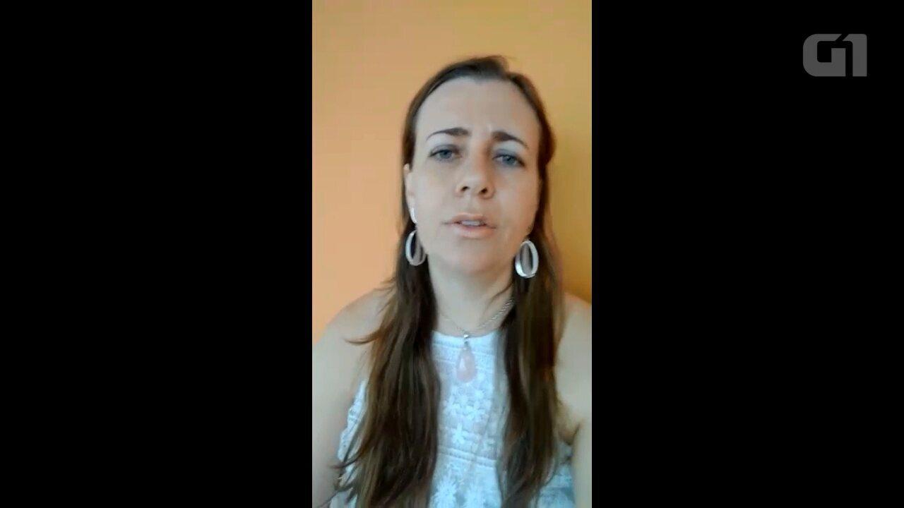 A professora Karin Hornes explica as características de um tornado