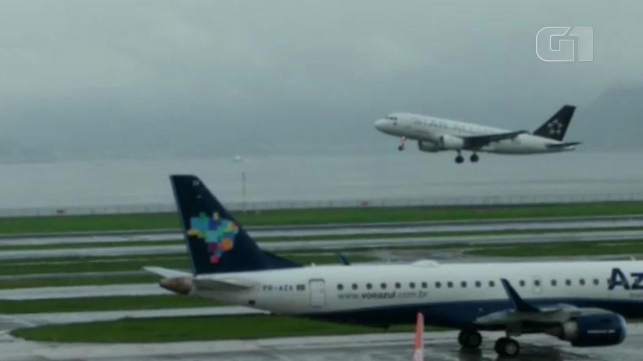 Com pista molhada, avião arremete no Aeroporto Santos Dumont